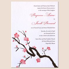 Cherry blossom wedding invitations weddings pinterest cherry letterpress wedding invitation themes destination indian and floral wedding invitations stopboris Images