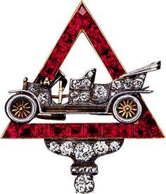 Antique Platinum, Gold, Diamond, Ruby Motor Car Brooch ca. 1906.