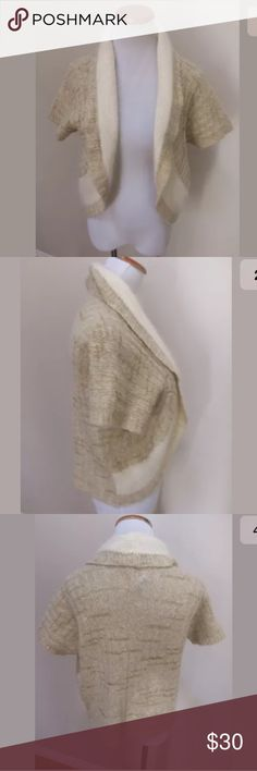 """FINAL PRICE! Sleeping on Snow Anthropologie Bolero FIRM ON PRICE! Sleeping on Snow Anthropologie Cream Gold Metallic Angora Bolero Cardigan Medium. Excellent condition! Clean and comes from smoke free home. Questions welcomed.  Armpit to Armpit: 19"""" across Length: 20.25"""" Anthropologie Sweaters Cardigans"""