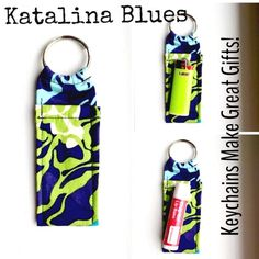 """Made n Vera Bradley Print Chapstick Keychain NWOT Made in new Vera Bradley Print Chapstick Keychain Katalina Blues Chapstick Keychain~Fits Mini Bic Lighters~and Flash Drives Size 4"""" x 1  1/2"""" Smoke Free Home Chapstick/Lighter NOT Included ✨Pattern placement varies✨ All Keychains are made with high quality material from a smoke free home 100% Vera Bradley Fabric Interface Metal Keyring Made in Vera Bradley Accessories Key & Card Holders"""