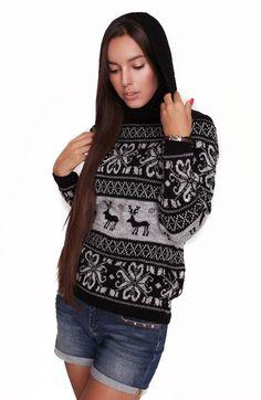 С оленями свитер (56 фото): женский, детский, вязаный, красный, рождественский, новогодний, зимний