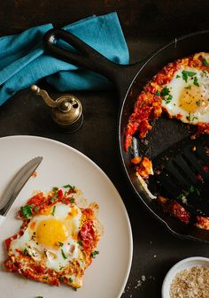 Poached Eggs in a Tomato and Pepper Stew from Cook Your Dream via Flickr