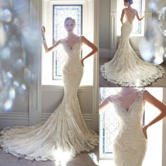vestidos de novia New Arrival Fabulous Sexy V Neck Sleeveless Brush Train Bridal Gown Lace Appliques Mermaid Wedding Dresses US $178.60
