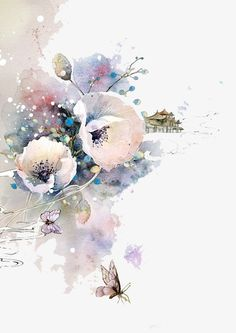 beautiful -drawn illustration antiquity, Watercolor Flowers, Chinese Style, Color Ink PNG Image and Clipart Art And Illustration, Watercolor Illustration, Easy Watercolor, Watercolor Flowers, Watercolor Paintings, Watercolor Landscape, Watercolor Tattoo, Painting Art, Flower Wallpaper