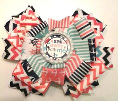 Sail Away With Me , Anchor Hair Bow , Nautical Hair Bow by CCSBOWTIQUE2010 on Etsy