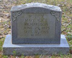 Mary Alice Grayson Richardson (1874 - 1965) - Find A Grave Photos