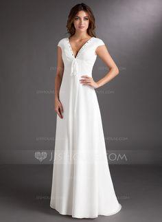 Wedding Dresses - $142.99 - A-Line/Princess V-neck Sweep Train Chiffon Wedding Dress With Ruffle Beading (002011619) http://jjshouse.com/A-Line-Princess-V-Neck-Sweep-Train-Chiffon-Wedding-Dress-With-Ruffle-Beading-002011619-g11619