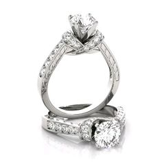 Forever One colorless D-F moissanite center with genuine diamond sides. Single Diamond Ring, Diamond Solitaire Rings, Diamond Jewelry, Jewelry Rings, Bridal Rings, Wedding Ring Bands, Design Your Own Engagement Rings, Big Rings, Dream Ring