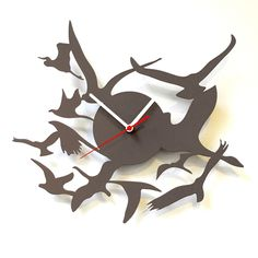Birds Wall Clock Gray