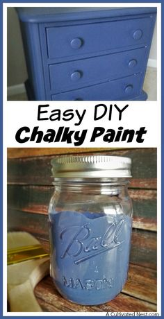 DIY Chalky Paint - name brand chalk paints look great and have many benefits over other kinds of paint, but can be pricey. Save money and make your own easy DIY chalky paint (any color)! DIY home decor projects, furniture makeovers Make Chalk Paint, Chalky Paint, Chalk Paint Furniture, Furniture Projects, Diy Furniture, Refurbished Furniture, Milk Paint, Rustic Furniture, Furniture Makeover