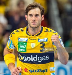 <a gi-track='captionPersonalityLinkClicked' href='/galleries/personality/697757' ng-click='$event.stopPropagation()'>Uwe Gensheimer</a> of the Rhein-Neckar Loewen in action during the game between Rhein-Neckar Loewen Mannheim and Fuechse Berlin on may 26, 2015 in Mannheim, Germany.