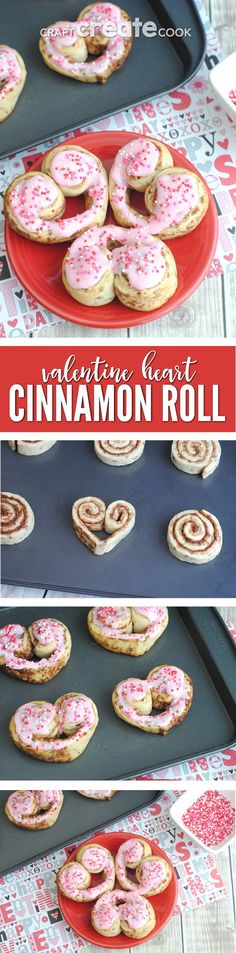 Valentine Cinnamon Roll Hearts are adorable, easy to make and perfect for Valentines breakfast! via @CraftCreatCook1