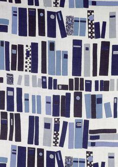 "Jacqueline Groag/Liberty & Co.  ""Books"" Furnishing fabric, screen-printed…"