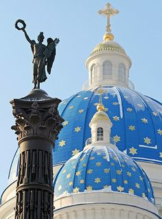 Column of Glory and the dome of Trinity Cathedral in Saint-Peterburg, Russia