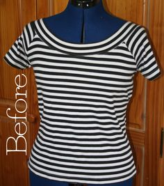 !casing for elastic DIY Striped T Shirt Dress
