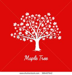 Beautiful white maple tree silhouette on red background. Modern vector sign…