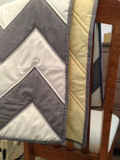Chevron Zig Zag Grey and White Baby Quilt with by AFaceToCallHome, $50.00