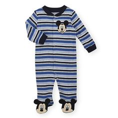 He'll be dressed to impressed in this snuggly footie that showcases Disney charm. Chunky stripes in cheerful hues enliven every inch of this piece, and pure cotton provides…