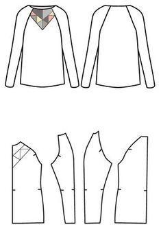 Raglan-Pullover nähen mit kostenlosem Schnittmuster: Schnittübersicht