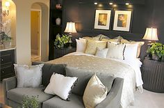 love the shades of gray in this bedroom.  Can accent with any color!