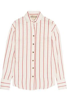 A.W.A.K.E. - Oversized Striped Jacquard Shirt - Ivory - small