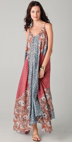 Zimmermann Collector Spliced Slip 3/4 Dress |  This oversized V-neck voile dress features patchwork floral prints and an uneven bottom hem. Spaghetti straps. Semi-sheer. #boho