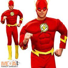 The Flash Men's Fancy Dress Superhero Character Adults DC Comic Muscle Costume Red Superhero, Superhero Fancy Dress, Superhero Characters, The Flash, Teen Boy Costumes, Dc Comics Superheroes, Captain America, Fashion Outfits, Ebay