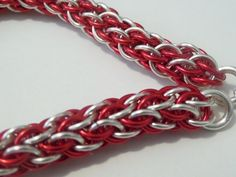 Red and Silver Candy Cane Weave Intricate by NightsongsDaydreams
