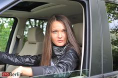 Anastasia Petrova russian girl vacation in Germany with her 4WD Range Rover Sport Diesel great SUV car