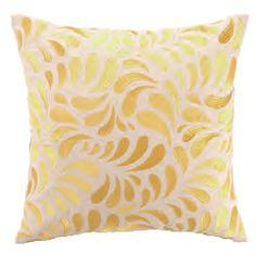 Montecito Foliage Pillow.  Enhanced with shades of yellow embroidery foliage on crisp white linen adds a captivating efflorescence.
