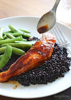 Honey Teriyaki Chicken. A colorful dish when paired with forbidden rice and sauteed sugar snap peas. Marinate salmon overnight and prepare the dish the next day in under 30 minutes.