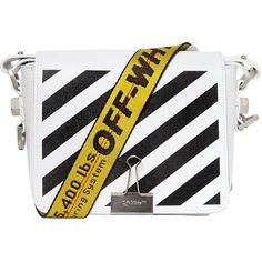 Off White Women Stripes Binder Clip Leather Shoulder Bag ($1,035) ❤ liked on Polyvore featuring bags, handbags, shoulder bags, leather shoulder bag, genuine leather purse, leather handbags, stripe handbag and striped purse
