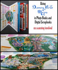 Using Disney Parks Maps in a Photo Book or Digital Scrapbook - No Software or Scanning Involved