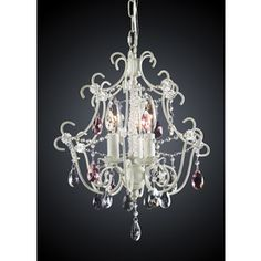 "3-Light Antique White Crystal Chandelier Height 15"" Width 13' $169"