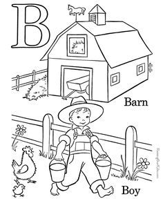 Kids Farm ABC Coloring Pages, Letter B free printable Pre-K alphabet coloring pages featuring ABC coloring page sheets Preschool Learning, Preschool Activities, Teaching Kids, Kids Learning, Preschool Plans, Letter B Coloring Pages, Coloring Books, Coloring Sheets, Coloring Stuff