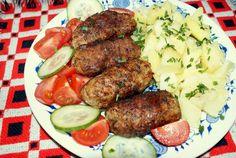 Maso,vejce,cibulku,česnek,koření a bylinky dobře promícháme.Ze vzniklé masové hmoty vytvoříme s pomocí trochy hladké mouky kebaby ve formě... Pot Roast, Sausage, Beef, Ethnic Recipes, Food, Carne Asada, Meat, Roast Beef, Sausages