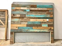 The Michelle Grey Weathered Reclaimed wood Bed Frame - - Reclaimed Wood Headboard, Decor, Pallet Diy, Wood Headboard, Rustic Furniture, Wall Mounted Headboards, Diy Bedroom Decor, Modern Rustic, Headboard Art