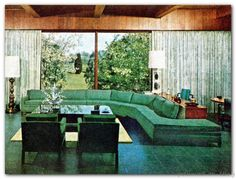 Lovely Curved Couches Living Room Ideas – Home Decor Ideas Mid Century Living Room, Mid Century Decor, Mid Century House, Mid Century Furniture, Retro Living Rooms, My Living Room, Mid-century Interior, Decor Interior Design, Interior Decorating