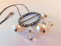Found Object Statement Necklace - Recycled Vintage Jewelry - Pearl Necklace by SaveTimeInABauble on Etsy