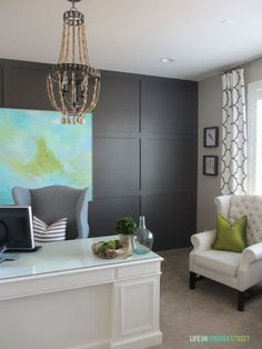 Office Reveal   Life On Virginia Street. Love the board and batten grid accent wall and those drapes! Almost everything from the art to the light to the desk are DIY projects!