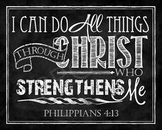 Scripture Art  Philippians 4:13 Chalkboard by ToSuchAsTheseDesigns