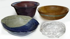 These handmade salad bowls are a beautiful option for serving. They make great gifts, too! Shown are bowls by Brian Kunkleman (ceramic), Patrick McBride (wood), and Scott Krenitsky (glass)