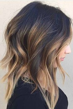 Brunette Balayage for Thick Hair - 50 Cute Long Layered Haircuts with Bangs 2019 - The Trending Hairstyle Long Layered Hair, Long Curly Hair, Girl Short Hair, Curly Hair Styles, Layered Lob, Medium Layered, Layered Haircuts, Long Bob With Layers, Short Haircuts
