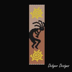 Kokopelli Beaded Peyote Bracelet Cuff by FUNPATTERNDESIGNS