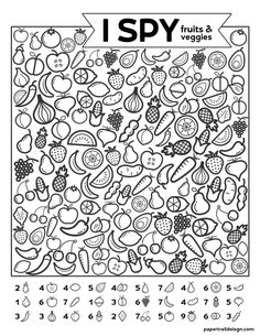 Free Printable I Spy Game - Fruits & Veggies. Easy fun car activity or rainy day boredom buster activty to keep kids busy. crafts for kids learning fun activities Spring Coloring Pages, Free Coloring Pages, Printable Coloring Pages, Coloring Worksheets, Coloring Sheets, Adult Coloring, Egg Coloring, Alphabet Coloring, Animal Coloring Pages