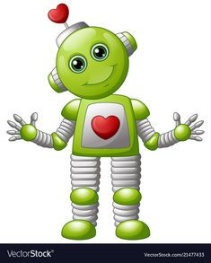 Cartoon valentine robot vector image on VectorStock Robot Picture, Valentines Robots, Craft Projects For Kids, Busy Book, Digital Stamps, Musical, Adobe Illustrator, Clip Art, Scrapbook