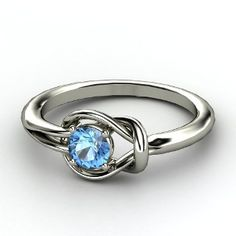 Hercules Knot Ring, Round Blue Topaz  Sterling Silver Ring from Gemvara