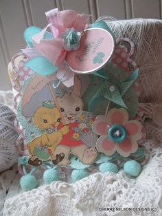 vintage easter ornament-for EASTER TREE baby bunny and chick handmade ornament tag decoration