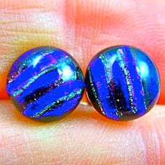 Tiny Dichroic Studs Earrings  1/4  Cobalt Blue Reed by HaydenBrook, $7.99