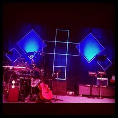 PVC Pipe, fabric and LED lights make a geometric background for our worship set.